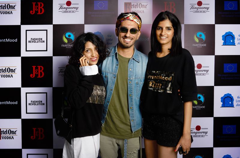 Krishna Mukhi, Karan Berry and Avani Purohit at currentMood's 2nd Anniversary issue launch party in association with Fashion Revolution at the little door, mumbai
