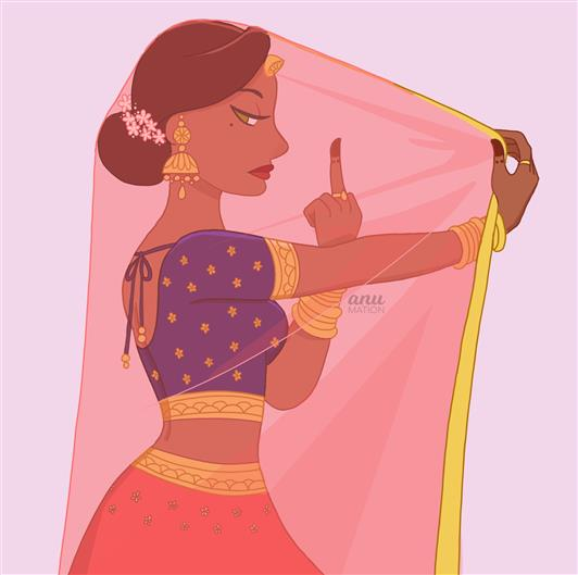 Sassy Bride - Illustration By Anu Chouhan - Bridal caricature