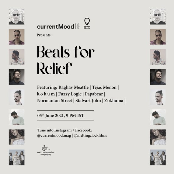 Beats-for-relief-by-currentMood-magazine-and-melting-clock-featuring-zokuhma-tejasmenon-kokum-raghav-meattle-fuzzy-logic