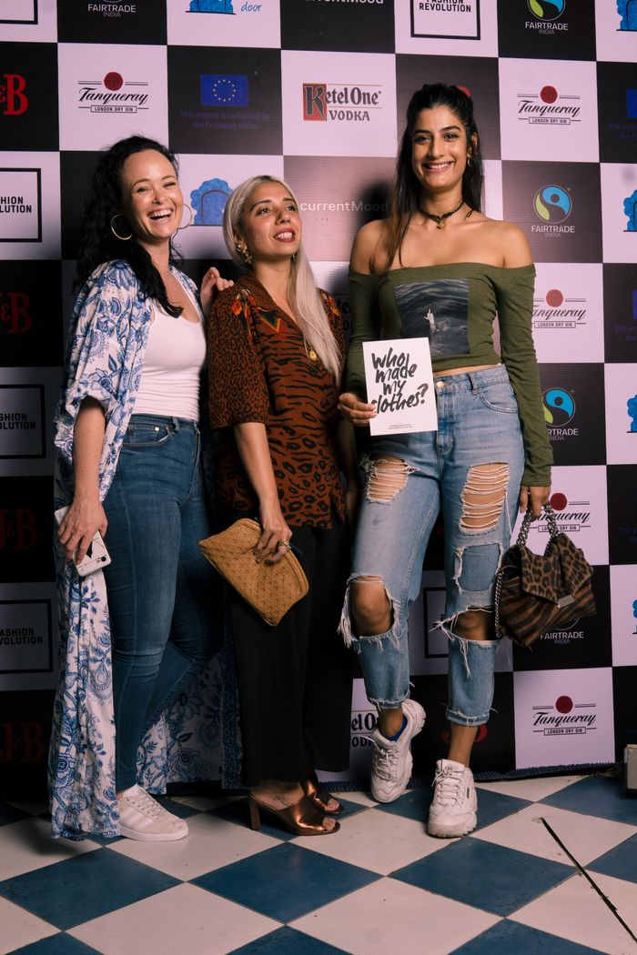 Claire Marrinan, Aesha Merchant and Erika Packard at currentMood's 2nd Anniversary issue launch party in association with Fashion Revolution at The little door, mumbai