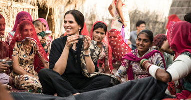 currentMood, indian online fashion magazine, visits Anita Dongre's Grassroot craft collective in Bakruta, Gujarat, India. She is known for empowering Indian artisans.